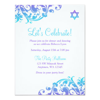 Elegant Purple Teal Flourish Bat Mitzvah Reception Card