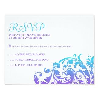 Elegant Purple Teal Flourish Bat Mitzvah RSVP Card