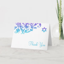 Elegant Purple Teal Flourish Bat Mitzvah Thank You