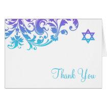 Elegant Purple Teal Flourish Bat Mitzvah Thank You