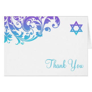 Elegant Purple Teal Flourish Bat Mitzvah Thank You Stationery Note Card