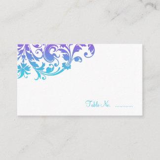 Elegant Purple Teal Flourish Place Cards