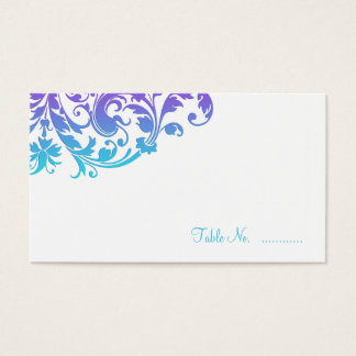 Elegant Purple Teal Flourish Place Cards