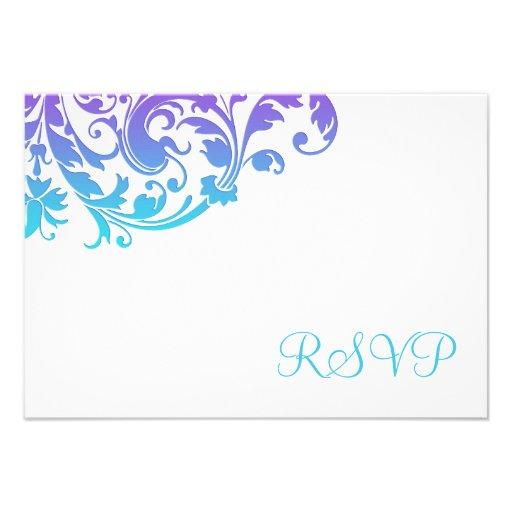 Elegant Purple Teal Flourish RSVP Invite
