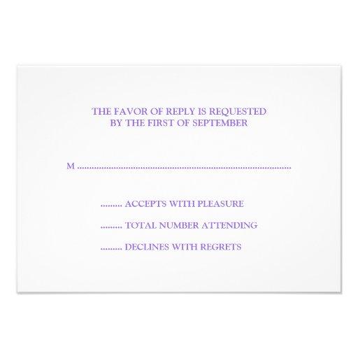 Elegant Purple Teal Flourish RSVP Invite (back side)