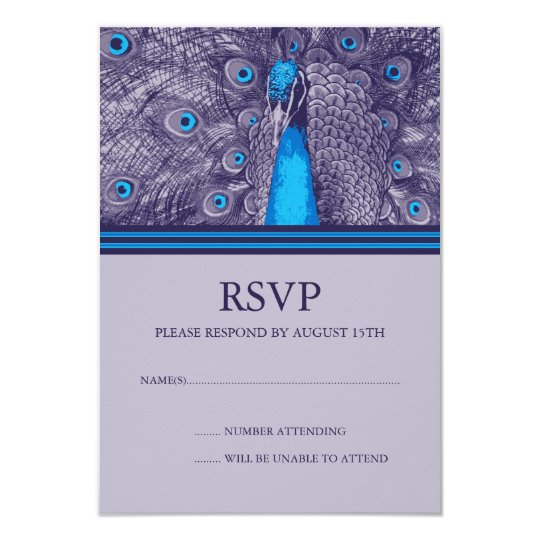 Elegant Purple Teal Peacock RSVP Response Cards
