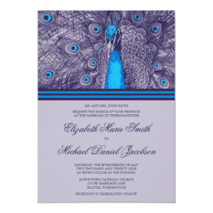Elegant Purple Teal Peacock Wedding Invitation 5