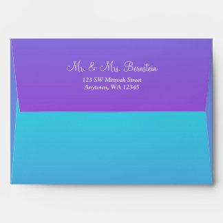 Elegant Purple Teal Return Address A7 Envelope