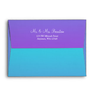 Elegant Purple Teal Return Address A7 Envelope