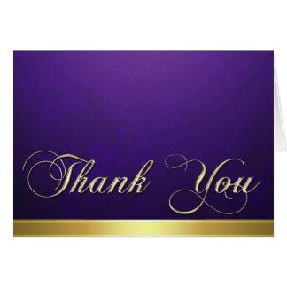 Elegant Purple Texture Modern Gold Thank You Card