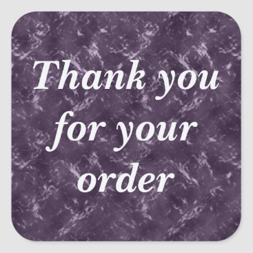 Elegant Purple Thank You for Order Business Square Sticker