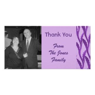 elegant purple Thank You Custom Photo Card