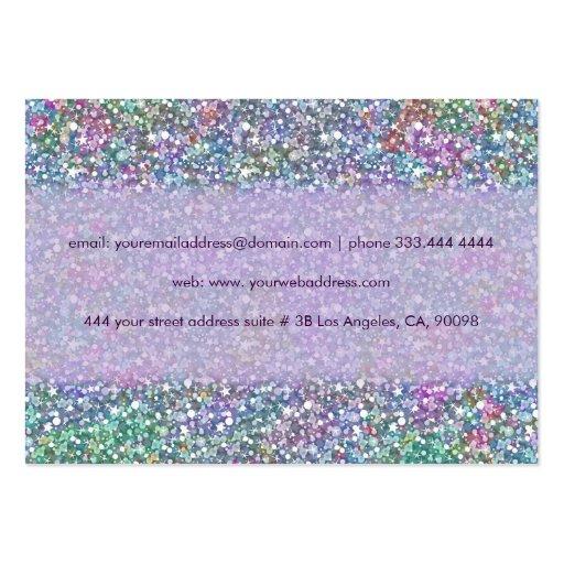 Elegant Purple Tint Glitter & Sparkles Business Card (back side)