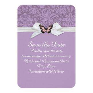 Elegant Purple Tudor Damask Save the date Card