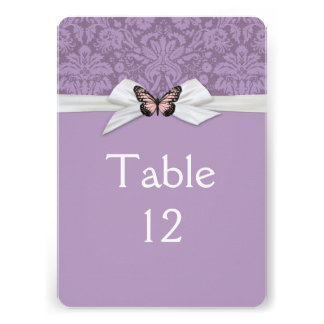 Elegant Purple Tudor Damask Table card