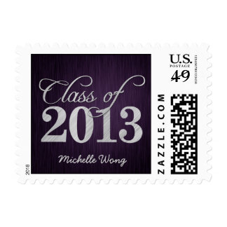 Elegant purple vignette and silver Class of 2013 Postage