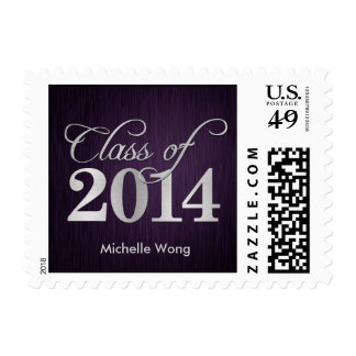 Elegant purple vignette and silver Class of 2014 Postage