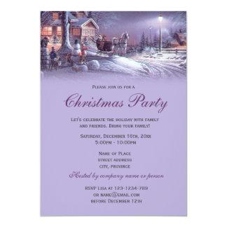 Elegant purple vintage Christmas holiday party Personalized Invitation