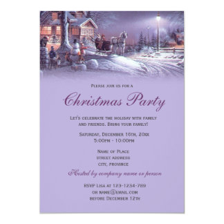 Elegant purple vintage Christmas holiday party Card