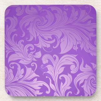 elegant, purple ,vintage, floral ,damask,beautiful drink coasters