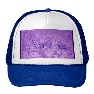 elegant, purple ,vintage, floral ,damask,beautiful trucker hat