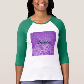 elegant, purple ,vintage, floral ,damask,beautiful tee shirt