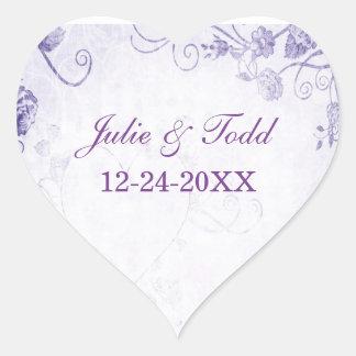 Elegant Purple Vintage Save The Date Heart Sticker