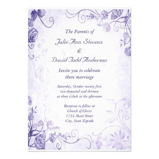 Elegant Purple Vintage Wedding Invitation 5 X 7 Invitation Card