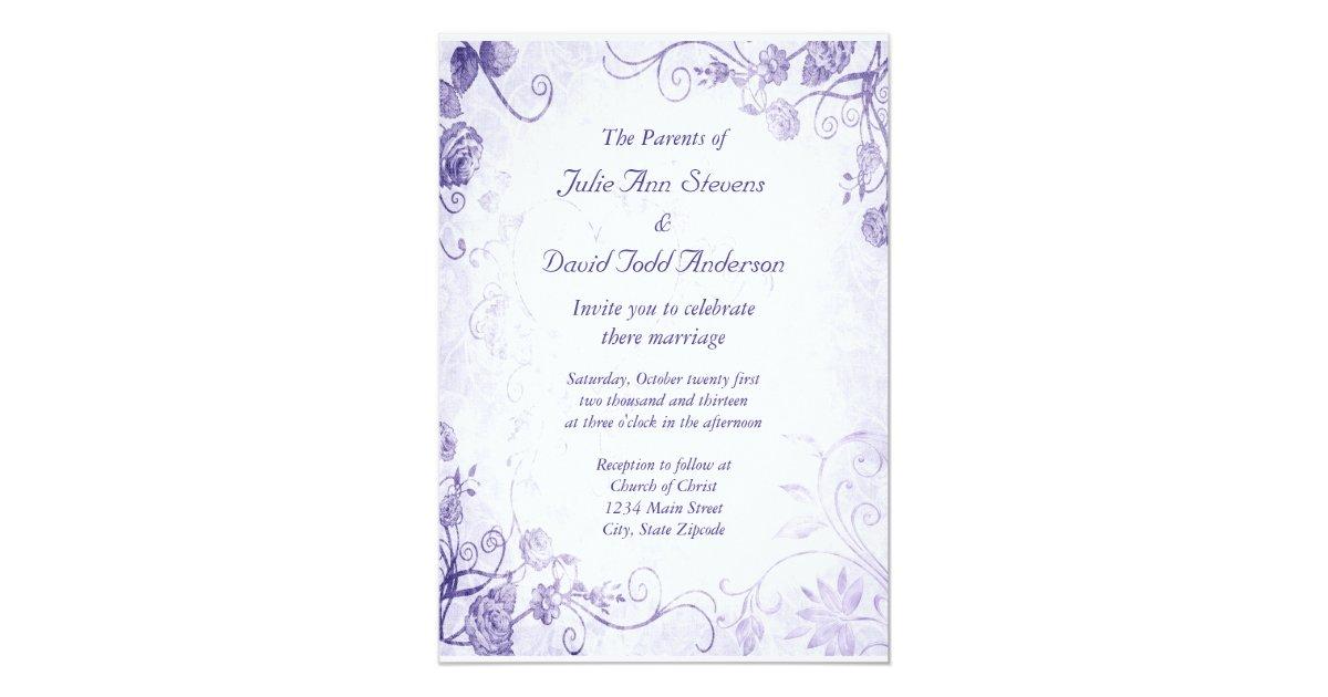 Elegant Purple Vintage Wedding Invitation