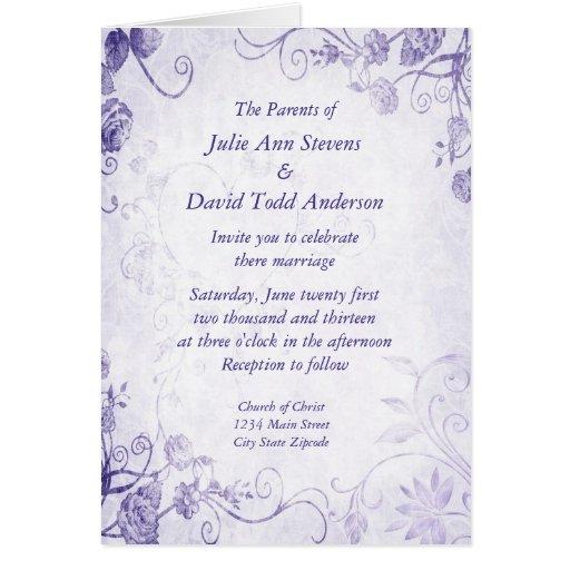 Elegant Purple Vintage Wedding Invitation Greeting Card