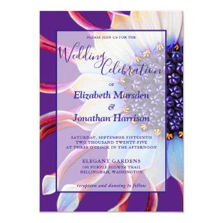 Elegant Purple Violet Pink Floral Photo Wedding Invitation