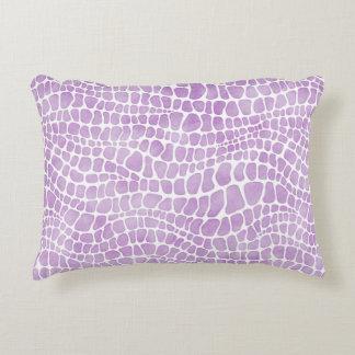 Elegant Purple Watercolor Crocodile Skin Pattern Accent Pillow