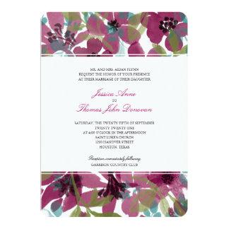 Elegant Purple Watercolor Flower Garden | Wedding Card