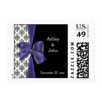 Elegant Purple Wedding postage Stamps