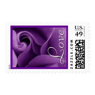 Elegant Purple Wedding Rose Love Stamp
