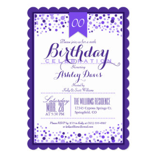 Elegant Purple, White Adult or Teen Birthday Party 5x7 Paper Invitation Card