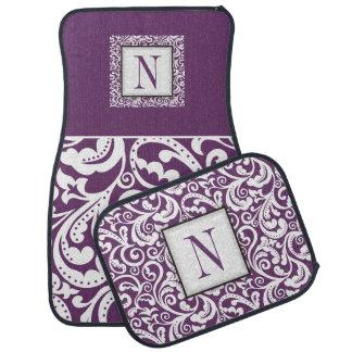 Elegant purple, white damask floral monogram floor mat
