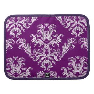 Elegant Purple & White Damask Pattern Folio Planners