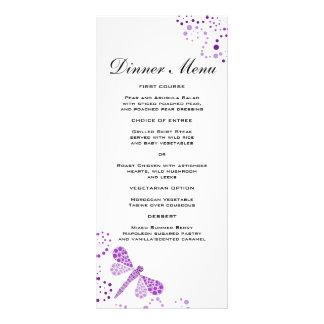 Elegant Purple & White Dragonfly Slim Dinner Menu