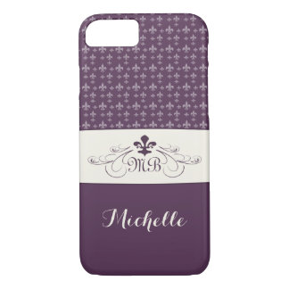 Elegant Purple White Fleur de Lis iPhone 8/7 Case