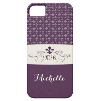 Elegant Purple White Fleur de Lis iPhone SE/5/5s Case