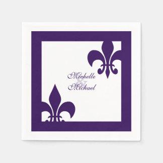 Elegant Purple White Fleur de Lis Wedding Paper Napkin