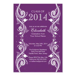 Elegant Purple White Graduation Party Invitation