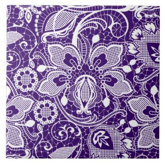 Elegant Purple & White Vintage Flowers Lace Ceramic Tile