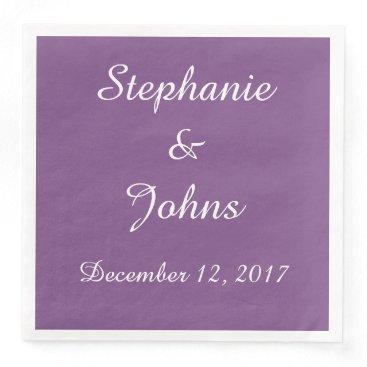 Beach Themed Elegant Purple White Wedding Simple Cute Trendy Paper Dinner Napkin