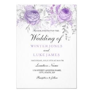 Elegant Purple White Winter Floral Wedding Invite