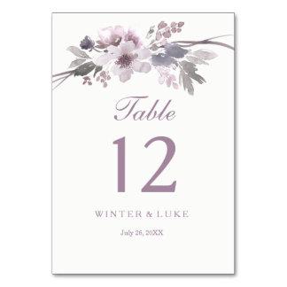 Elegant Purple Winter Floral Wedding Table Card