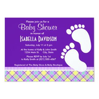Elegant Purple & Yellow Plaid Custom Invites