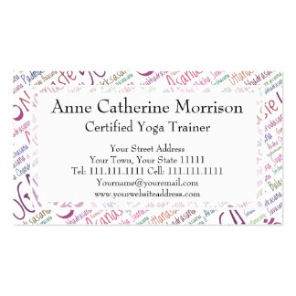 Elegant Purple Yoga Positions Word Cloud Pattern Business Card Templates