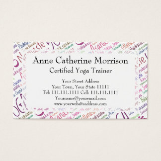 Elegant Purple Yoga Positions Word Cloud Pattern Business Card
